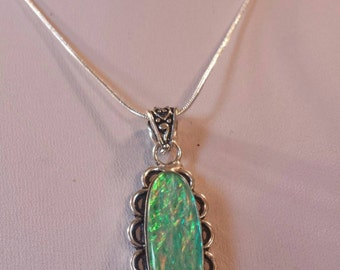 Dichroic Glass opalescent color pendant necklace Sterling silver