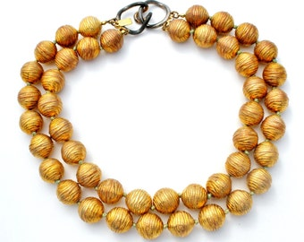 Donald Stannard, Vintage Necklace, Large Beads, Multi Strand, Gold and Copper, Hand Knotted,  Statement Necklaces