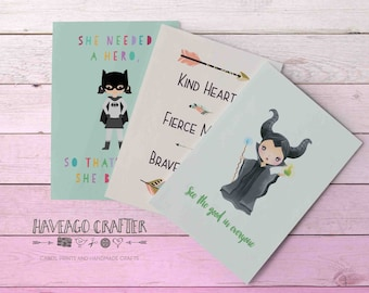 Fun and inspirational quote postcards / notecards - series 3. She needed a hero batgirl, See the good maleficent, Kind heart fierce mind