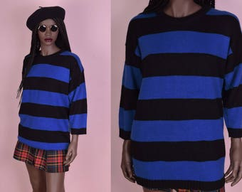 70s Blue and Black Striped Sweater/ Medium/ 1970s