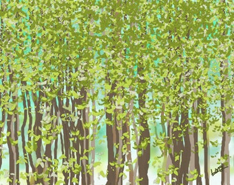 """An original digital abstract painting  by Nancy Long """"Spring Trees"""".   A print of a tree lined landscape with green leaves and background."""