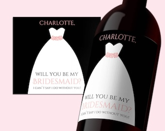 INSTANT DOWNLOAD PDF Template 3,5x4 Editable Wine Label Be my Bridesmaid tag Bridesmade calligraphy Printable Wedding Wine Labels Digital