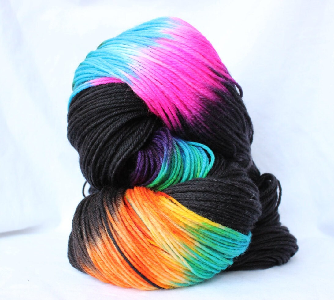 Hand Dyed Yarn Black and Brights variegated yarn fingering
