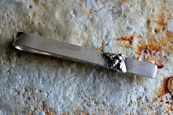 Sterling Silver Bee Tie Clip, Bee Tie Bar, Groom's Gift Men's Gift