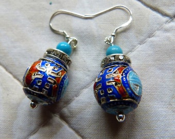 Antique Chinese Mandarin Court Beads turquoise and sterling silver earrings