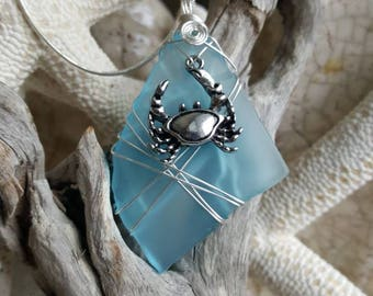 Blue seaglass, wire wrapped, sea crab charmed pendant necklace