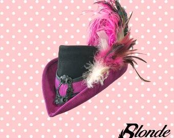 Fuchsia and Black Riding Hat