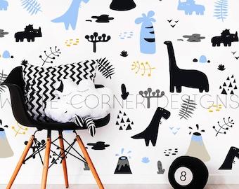 50 Dinosaur Wall Decals - Wall Decor, Dinosaur Decor, Nursery Decor, Gift for Kid, Boys Room Decor, Girls Room Decor,Wall Decals ga98