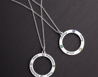 10K & 14K Solid Gold (Never Plated!) Personalized Family Circle Pendant