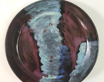 "Blue and Purple Serving Platter - 13.5"""