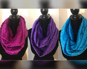 Minky Snuggle Infinity Scarf in Vibrant Colors