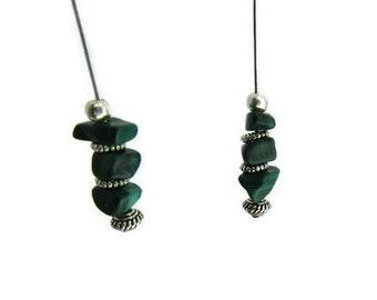 Green Malachite Earrings, Malachite Nugget Earrings, Green Earrings, Simple Green Earrings, Lightweight Earrings,Nickle Free Earrings,