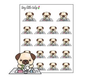 Planner Stickers Pug Wash Dishes