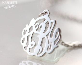 Silver monogram necklace - Monogram necklace - Initial necklace - Name necklace - Personalized necklace - Custom - Bridesmaid - 5/8 inch
