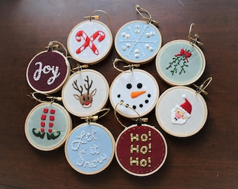 Handmade Custom Christmas Ornaments | Embroidery Hoop Ornaments | Holiday Decor | Personalized Gift
