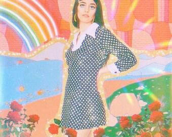 70s polyester mini dress