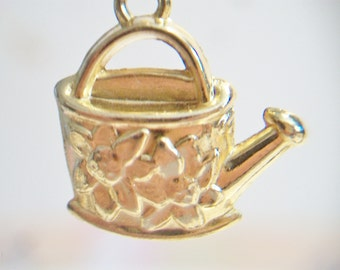 Watering Can Charm Gold Tone Costume Jewelry Gardening Gardner