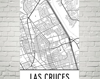 Las Cruces Map, Las Cruces NM Art, Las Cruces Print, Las Cruces NM Poster, Las Cruces Wall Art, Las Cruces Gift, Map of Las Cruces, Decor