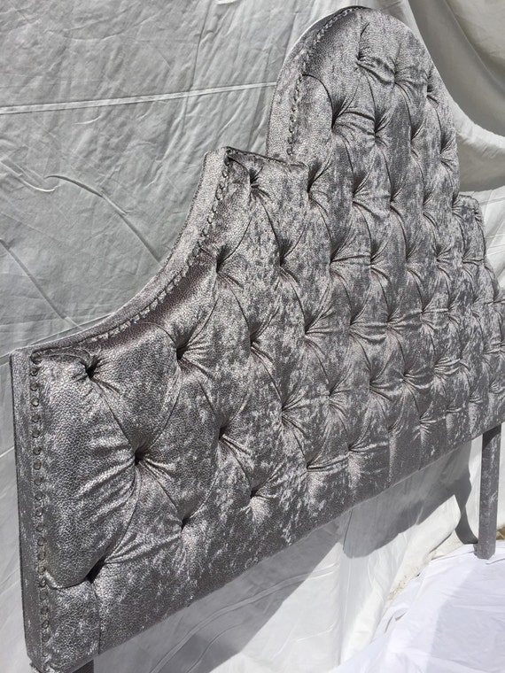 Plata gris rey tamaño cabecera copetuda cabecero tapizado gris