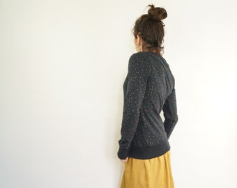 Blue Sweatshirt dark dot gilded in fine cotton
