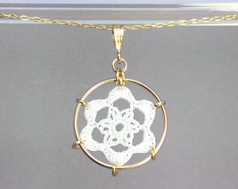 Peony doily necklace, white silk thread, 14K gold-filled