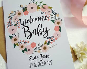 Personalised Welcome Baby Keepsake Card | Floral Wreath Card | New Baby Card | Welcome Baby Girl | It's A Girl | Congratulations | Daughter
