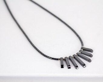 Hematite Necklace Dark Gray Stone Fringe Necklace