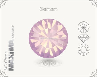 6 pc.+ SS39 (8mm) Preciosa MC Chaton MAXIMA - Rose Opal Color