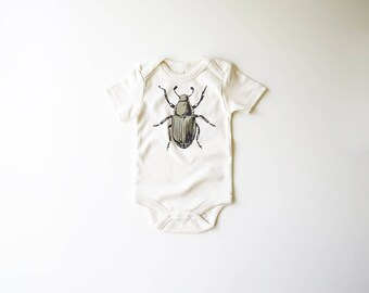 SALE | 50% OFF | 6-12m | Shimmer Beetle | Organic Baby Bodysuit | Bug | Screen Printed  | One Piece | Organic Clothes | Baby Tee | Hipster