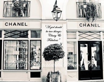 Chanel Art,Black and White,Paris Photography,Fashion Art,French,Classy & Fabulous,Vintage,Chanel Print,Dorm,Quote,Nursery Art,French Bedroom