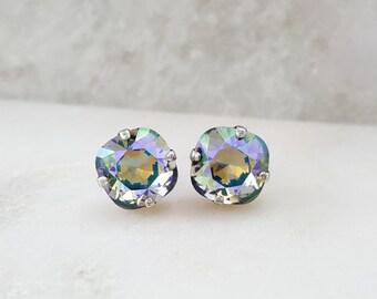 Iridescent Earrings - Swarovski Crystal Stud Earrings - Rainbow Crystal Earrings - Violet Crystal Earrings - Square Silver Earrings E3062