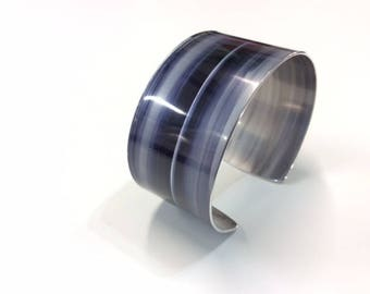 Black and Ice Grey 30 mm Anodised Aluminium Cuff