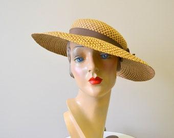 1940s Two-Tone Straw Sun Hat