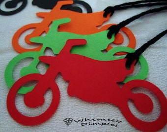 Dirt Bike Tags MotorBike Die Cut Cupcake Topper, Party Favor Boys MotoCross Birthday Extreme Sports, Hang Tags, Color Options