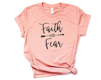 SALE Faith over Fear Hiking Shirt Christian T Shirts for Women Graphic Tees
