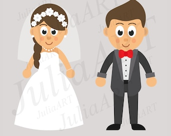 cartoon cute bride and groom vector image