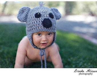 Koala hat crochet pattern NB-5 and up