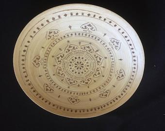 Stunning Pyrography Wooden 'Mandala' Bowl