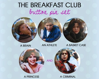 The Breakfast Club Button Pins 1980s (Set of 5)