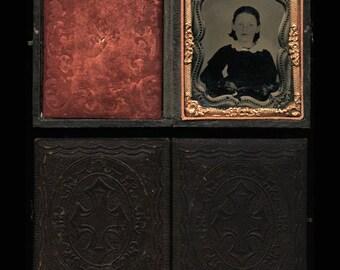 Unusual Period 1860s Copy Ambrotype of a Little Victorian Era Girl - Full Case