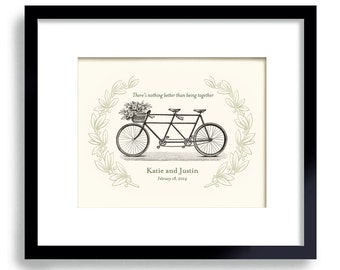 Unique Engagement Gift - Two Become One - Wedding Gift - Wedding Decor - Gift for Couples - Bicycle for Two - Bridal Shower