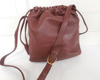 vintage 80's leather bucket tote, crossbody bag, handbag