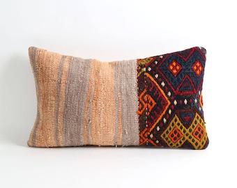 moroccan decor, 12x20 lumbar stripe kilim cushion case, aztec pillow, eclectic bohemian home decor