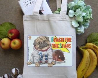 Canvas Tote Bag, Grocery Bag, Animal Lover Gift, Dog Lover Gift, Shopping Bag, Pug Stuff, Inspirational Motivational Quote, Pug Lover