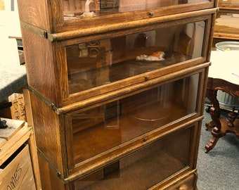 Antique Globe Wernicke Oak Barrister bookcase 4 section 12.5d34w58h Shipping is not free