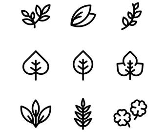 Leaf or Organic plant Icon set