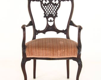 Antique Armchair, Edwardian Carved Mahogany, England 1910, Antique Furniture, B923