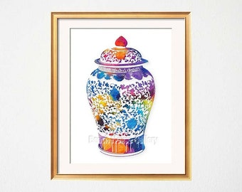 blue ginger jar blue white wall art chinoiserie chic preppy