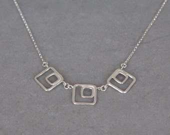 Sterling Silver Square Necklace, Minimalist Geometric Necklace, Classic Necklace