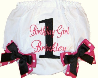 Personalized Birthday Baby Girl Diaper Cover Bloomers Birthday Hot Pink & Black Double Bows